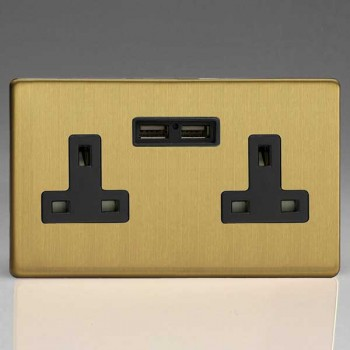 Varilight Screwless Brushed Brass 2 Gang 13A Unswitched Socket with Dual USB Ports and Black Insert