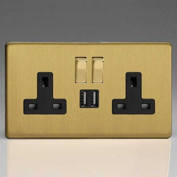 Varilight Screwless Brushed Brass 2 Gang 13A Switched Socket with Dual USB Ports and Black Insert