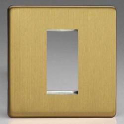 Varilight Screwless Brushed Brass 1 Gang Single Aperture DataGrid Faceplate