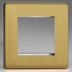 Varilight Screwless Brushed Brass 1 Gang Twin Aperture DataGrid Faceplate