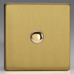 Varilight Screwless Brushed Brass 1 Gang 6A 2 Way Push-On/Off Impulse Switch