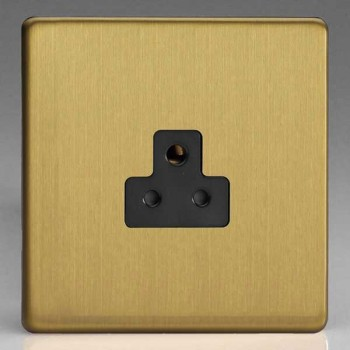 Varilight Screwless Brushed Brass 1 Gang 2A Round Pin Socket with Black Insert