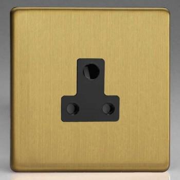 Varilight Screwless Brushed Brass 1 Gang 5A Round Pin Socket with Black Insert