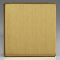Varilight Screwless Brushed Brass 1 Gang Blank Plate