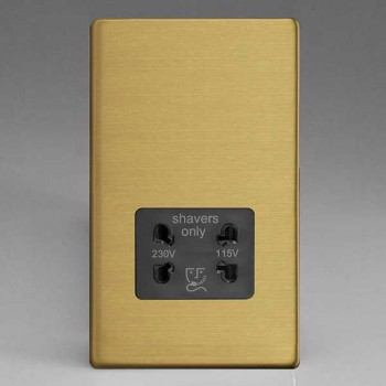 Varilight Screwless Brushed Brass Dual Voltage Shaver Socket with Black Insert