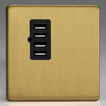 Varilight Screwless Brushed Brass 1 Gang Plate with Quad USB Ports and Black Insert