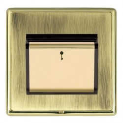 Hamilton Linea-Rondo CFX Polished Brass/Antique Brass 1 Gang On/Off 10A Card Switch with Blue LED Locator with Black Insert