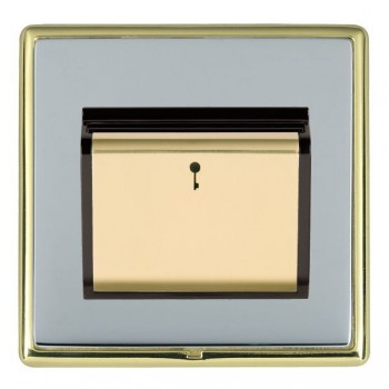 Hamilton Linea-Rondo CFX Polished Brass/Bright Steel 1 Gang On/Off 10A Card Switch with Blue LED Locator with Black Insert