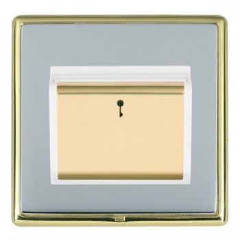 Hamilton Linea-Rondo CFX Polished Brass/Bright Steel 1 Gang On/Off 10A Card Switch with Blue LED Locator with White Insert