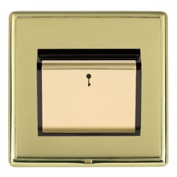 Hamilton Linea-Rondo CFX Polished Brass/Polished Brass 1 Gang On/Off 10A Card Switch with Blue LED Locator with Black Insert