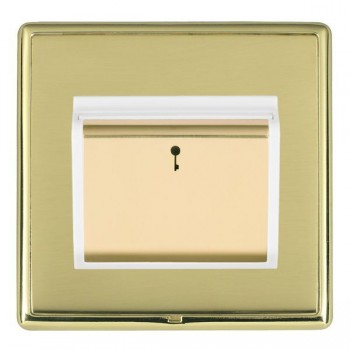 Hamilton Linea-Rondo CFX Polished Brass/Polished Brass 1 Gang On/Off 10A Card Switch with Blue LED Locator with White Insert