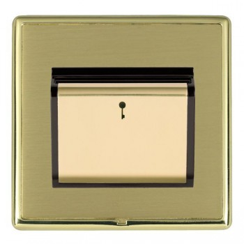 Hamilton Linea-Rondo CFX Polished Brass/Satin Brass 1 Gang On/Off 10A Card Switch with Blue LED Locator with Black Insert