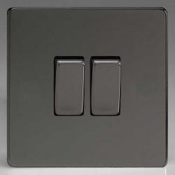 Varilight Screwless Iridium Black 2 Gang 10A 2 Way Switch