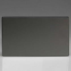 Varilight Screwless Iridium Black 2 Gang Blank Plate