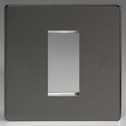 Varilight Screwless Iridium Black 1 Gang Single Aperture DataGrid Faceplate