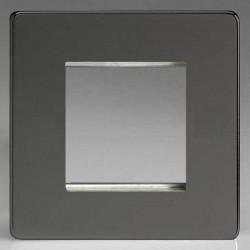 Varilight Screwless Iridium Black 1 Gang Twin Aperture DataGrid Faceplate