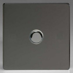 Varilight Screwless Iridium Black 1 Gang 6A 2 Way Push-On/Off Impulse Switch