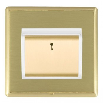 Hamilton Linea-Rondo CFX Satin Brass/Satin Brass 1 Gang On/Off 10A Card Switch with Blue LED Locator with White Insert