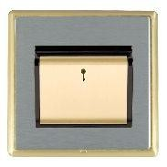 Hamilton Linea-Rondo CFX Satin Brass/Satin Steel 1 Gang On/Off 10A Card Switch with Blue LED Locator with Black Insert