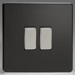 Varilight Screwless Premium Black 2 Gang 10A 2 Way Switch