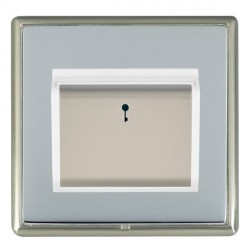 Hamilton Linea-Rondo CFX Satin Nickel/Bright Steel 1 Gang On/Off 10A Card Switch with Blue LED Locator wi...