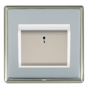 Hamilton Linea-Rondo CFX Satin Nickel/Bright Steel 1 Gang On/Off 10A Card Switch with Blue LED Locator with White Insert
