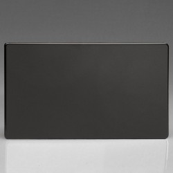 Varilight Screwless Premium Black 2 Gang Blank Plate