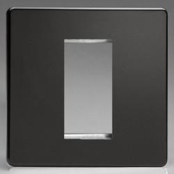 Varilight Screwless Premium Black 1 Gang Single Aperture DataGrid Faceplate