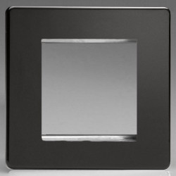 Varilight Screwless Premium Black 1 Gang Twin Aperture DataGrid Faceplate