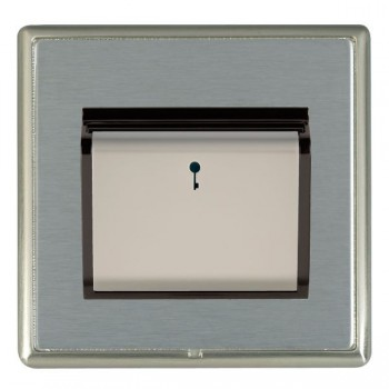 Hamilton Linea-Rondo CFX Satin Nickel/Satin Steel 1 Gang On/Off 10A Card Switch with Blue LED Locator with Black Insert