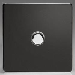 Varilight Screwless Premium Black 1 Gang 6A 2 Way Push-On/Off Impulse Switch