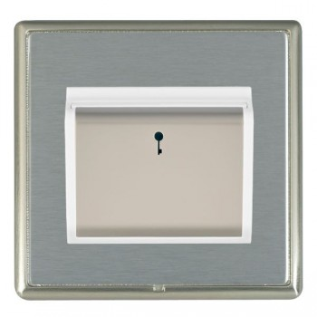Hamilton Linea-Rondo CFX Satin Nickel/Satin Steel 1 Gang On/Off 10A Card Switch with Blue LED Locator with White Insert