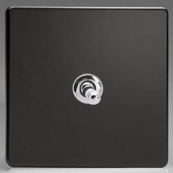 Varilight Screwless Premium Black 1 Gang 10A 2 Way Toggle Switch