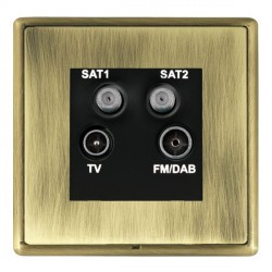 Hamilton Linea-Rondo CFX Antique Brass/Antique Brass TV+FM+SAT+SAT (DAB Compatible) with Black Insert