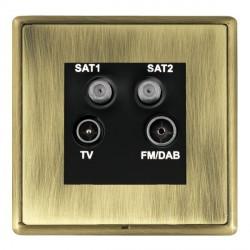 Hamilton Linea-Rondo CFX Antique Brass/Antique Brass TV+FM+SAT+SAT (DAB Compatible) with Black Insert