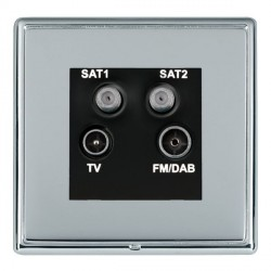 Hamilton Linea-Rondo CFX Bright Chrome/Bright Steel TV+FM+SAT+SAT (DAB Compatible) with Black Insert