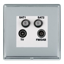 Hamilton Linea-Rondo CFX Bright Chrome/Bright Steel TV+FM+SAT+SAT (DAB Compatible) with White Insert