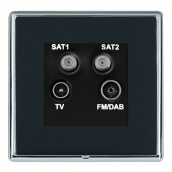 Hamilton Linea-Rondo CFX Bright Chrome/Piano Black TV+FM+SAT+SAT (DAB Compatible) with Black Insert