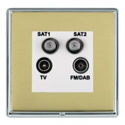 Hamilton Linea-Rondo CFX Bright Chrome/Polished Brass TV+FM+SAT+SAT (DAB Compatible) with White Insert