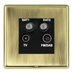 Hamilton Linea-Rondo CFX Polished Brass/Antique Brass TV+FM+SAT+SAT (DAB Compatible) with Black Insert