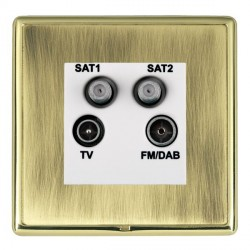 Hamilton Linea-Rondo CFX Polished Brass/Antique Brass TV+FM+SAT+SAT (DAB Compatible) with White Insert
