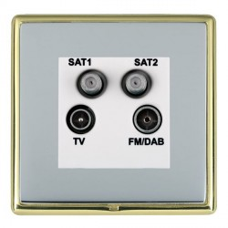 Hamilton Linea-Rondo CFX Polished Brass/Bright Steel TV+FM+SAT+SAT (DAB Compatible) with White Insert