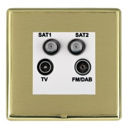 Hamilton Linea-Rondo CFX Polished Brass/Satin Brass TV+FM+SAT+SAT (DAB Compatible) with White Insert