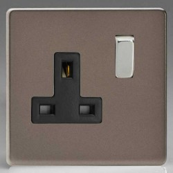 Varilight Screwless Pewter Effect 1 Gang 13A DP Switched Socket with Black Insert