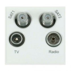 Click New Media MM440WH White TVFMSAT Quad Socket Module