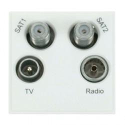Click New Media MM440WH White TVFMSAT Quad Socket Module