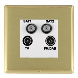 Hamilton Linea-Rondo CFX Satin Brass/Satin Brass TV+FM+SAT+SAT (DAB Compatible) with White Insert