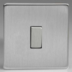 Varilight Screwless Brushed Steel 1 Gang 10A 2 Way Switch