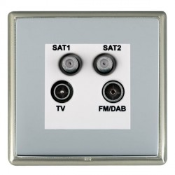 Hamilton Linea-Rondo CFX Satin Nickel/Bright Steel TV+FM+SAT+SAT (DAB Compatible) with White Insert