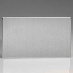 Varilight Screwless Brushed Steel 2 Gang Blank Plate